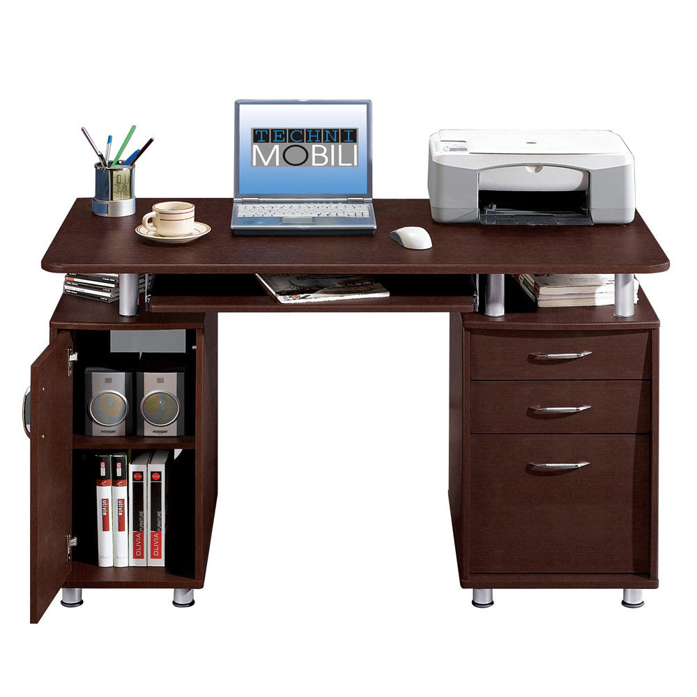 UBesGoo Wood Computer Desk PC Laptop Study Table Workstation Home Office Furniture Writing Table 3 Drawers Bookcase