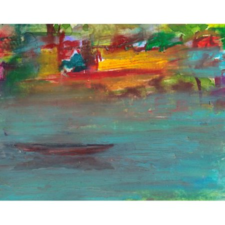 Green Leaf Art Canoes on Lake Painting Print on Wrapped Canvas