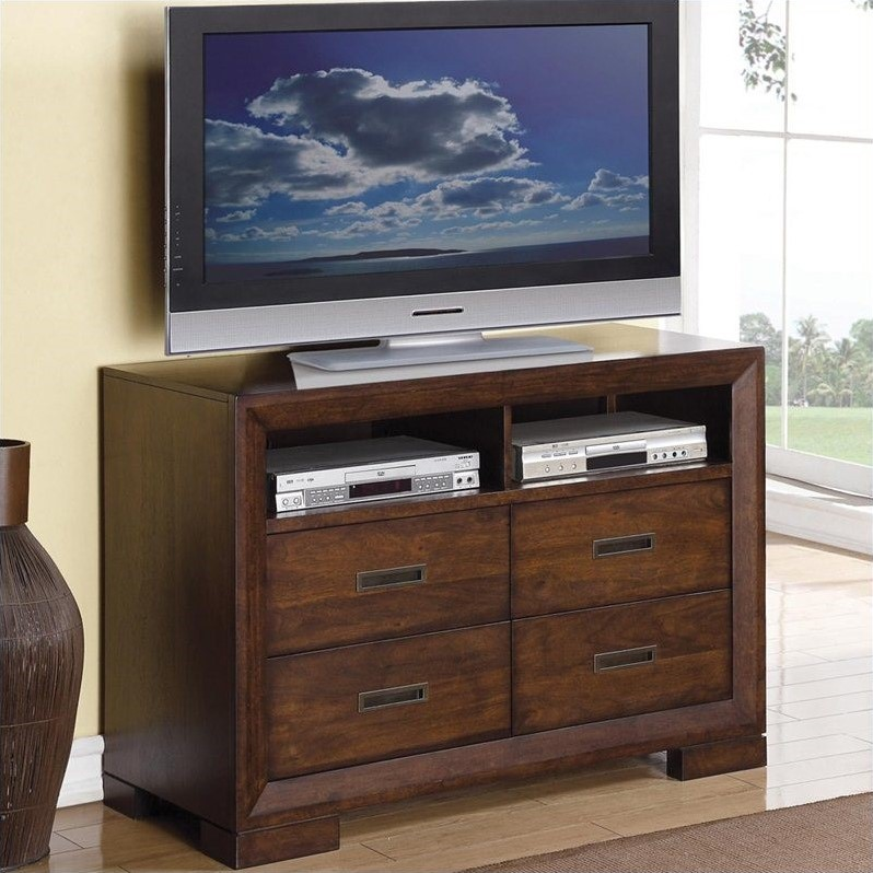 Riverside Furniture Riata Media Chest in Warm Walnut
