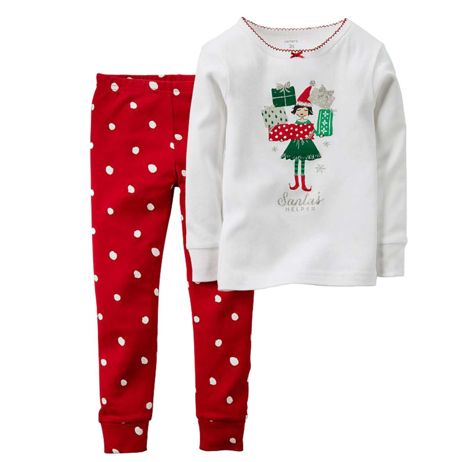 Carters Infant & Toddler Girls Santas Helper Elf Holiday Pajama 2 PC Sleep Set