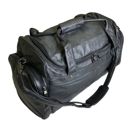 Executive Napa Leather Sport Bag, Travel,  Duffle Bag, Gym, Overnight Weekend Luggage or Carry on Airplane Underseat