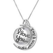 Sterling Silver I Love You To The Moon & Back Charm Pendant Necklace