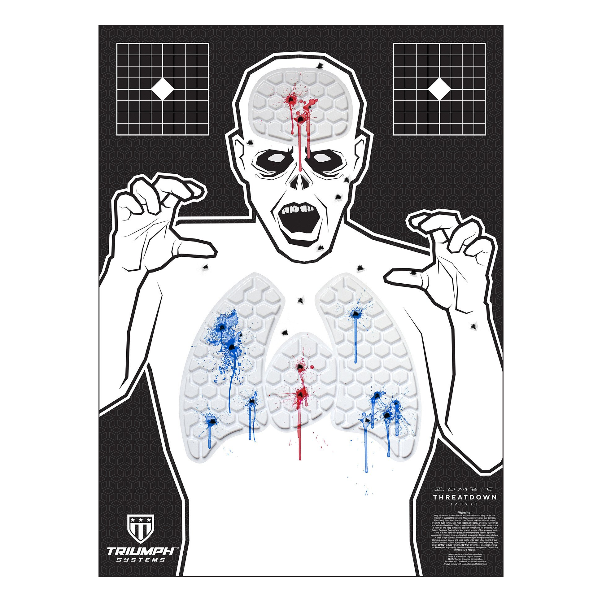 Threat Down Zombie Silhouette | Reactive Target | Shooting Target | Reactive Splatter Cells | Air