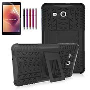 Windrew Heavy Duty Hybrid Protective Case with Kickstand Impact Resistant For Samsung Galaxy Tab E 8.0 Inch SM-T378/ SM-T375 / SM-T377 + Screen Protector Film and Stylus pen(Black)