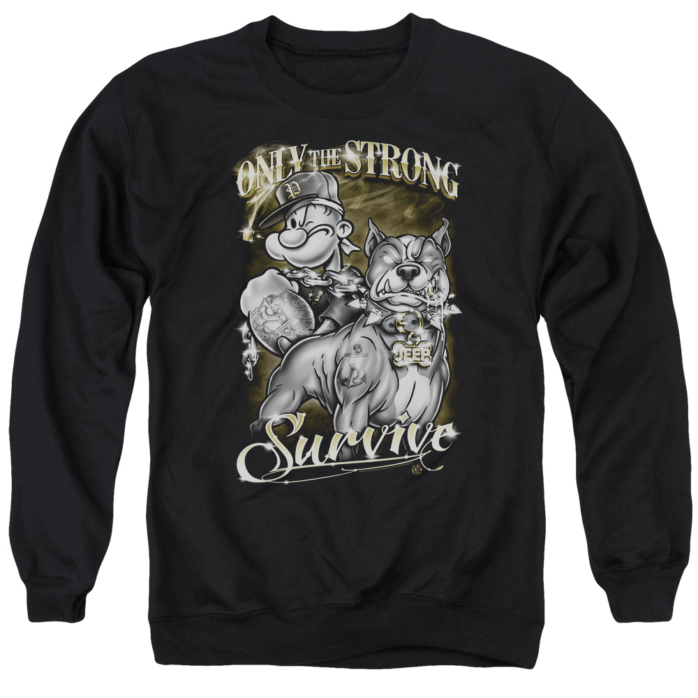 Popeye Only The Strong Mens Crewneck Sweatshirt