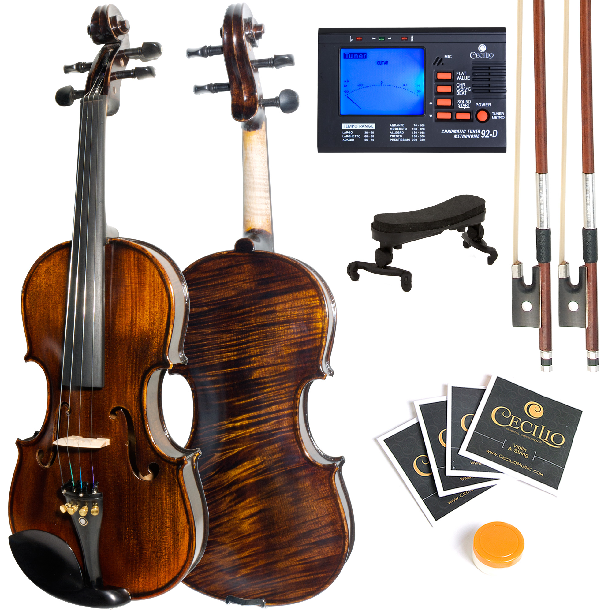 Mendini by Cecilio Size 1 2 MV500 Flamed Solid Wood 1-Piece Back Violin with Tuner,... by Cecilio Musical Instruments