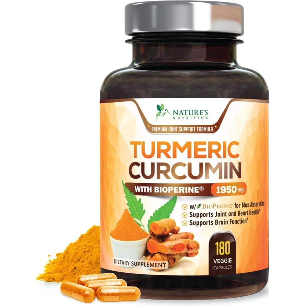 Turmeric Curcumin Highest Potency 95% with BioPerine and Ginger 1950mg - Black Pepper for Best Absorption, Made in USA, Best Vegan Joint Pain Relief, Nature's Nutrition Turmeric Pills - 180 Capsules