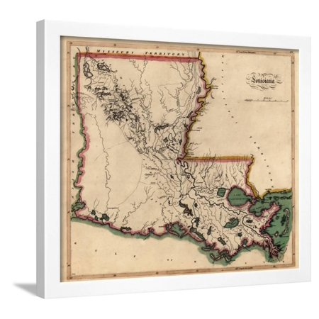 1814 Louisiana State Map Louisiana United States Framed Print