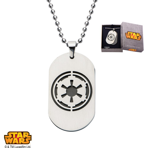 Disney Stainless Steel Star Wars Imperial Symbol Dog Tag Pendant, 22""