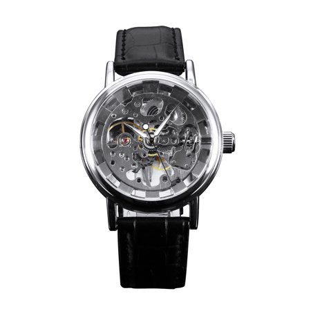 Silver Mechanical Hand Winding Mens Watch Simple Black Leather Strap Skeleton