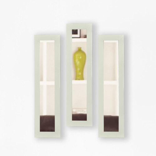Rayne Glossy White Mirror Panel, Set of 3