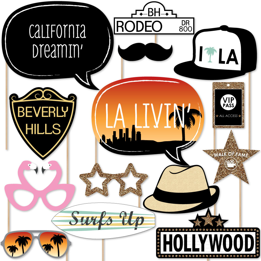 LA LIVIN' – Hollywood California Party Booth Props Kit – 20 Count