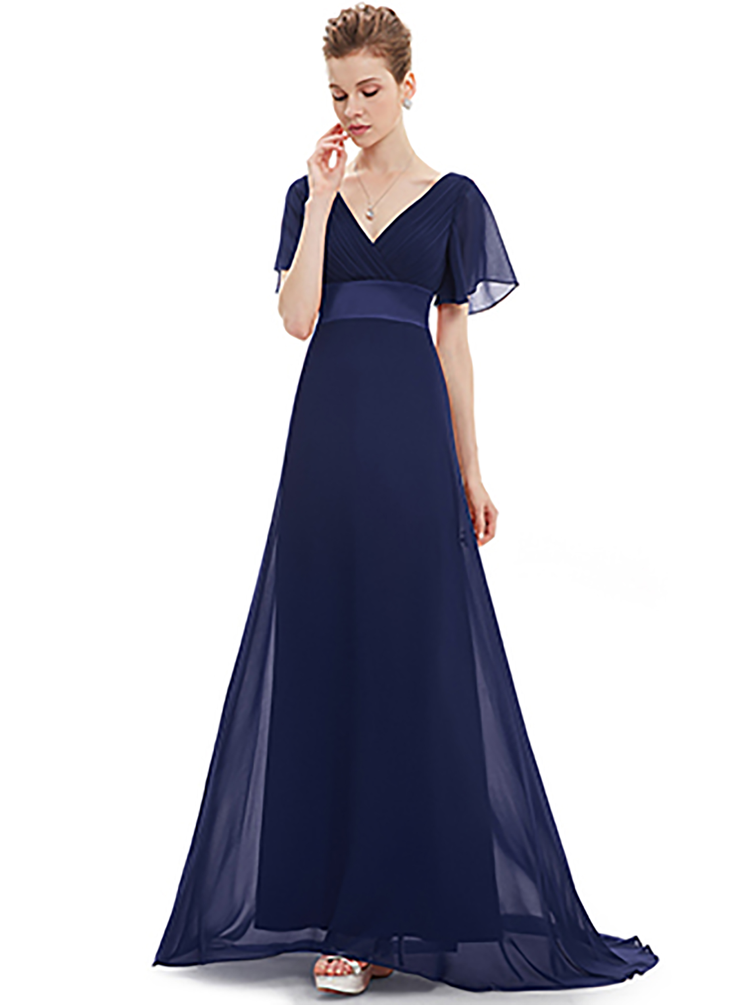 af46bcfb1292f Ever-pretty - Ever-Pretty Womens Flowy Chiffon Empire Waist Plus Size Long  Evening Party Maxi Dresses for Women 98903 Black US20 - Walmart.com