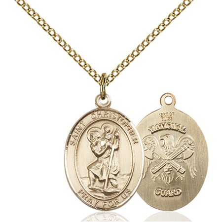 Gold Filled St. Christopher / Nat'l Guard Pendant 3/4 x 1/2 inches with Gold Filled Lite Curb Chain
