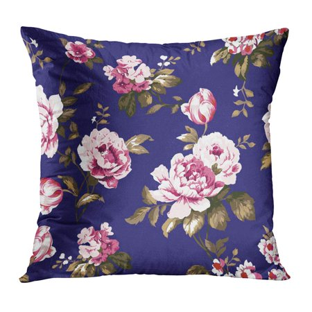 BOSDECO Colorful Shabby Chic Vintage Roses Tulips and Forget Me Nots Classic Chintz Floral for and Watercolor Pillowcase Pillow Cover Cushion Case 18x18 inch - image 1 de 1