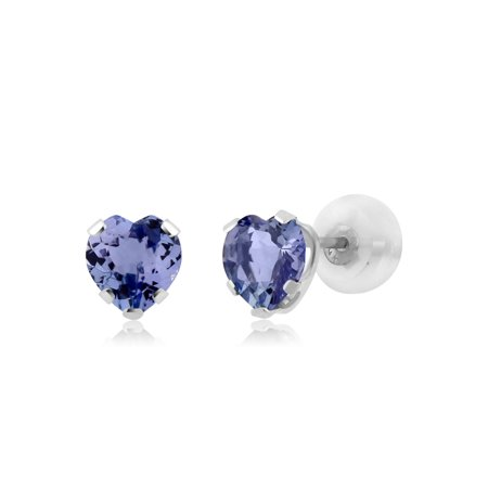 - 1.10 Ct Heart Shape Tanzanite 10K White Gold Stud Earrings 5mm