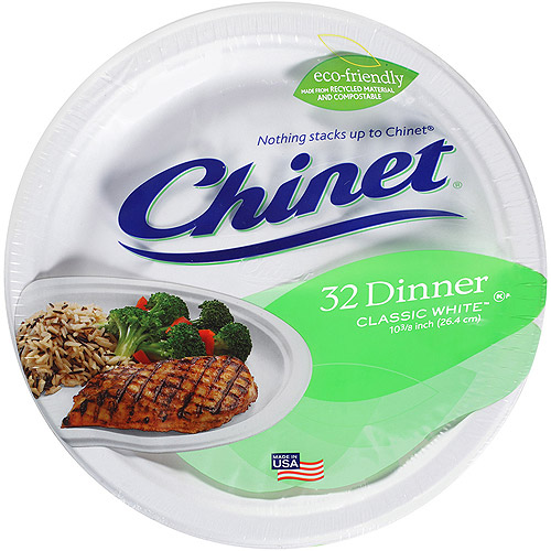 """Chinet Dinner Plate 10"""", 32 ct"""
