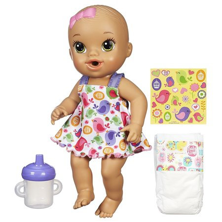 Sips 'n Cuddles Brunette, Modern Outfit, Sips 'n Cuddles doll lets your little one experience the fun of real babies By Baby Alive (Alice Outfit)