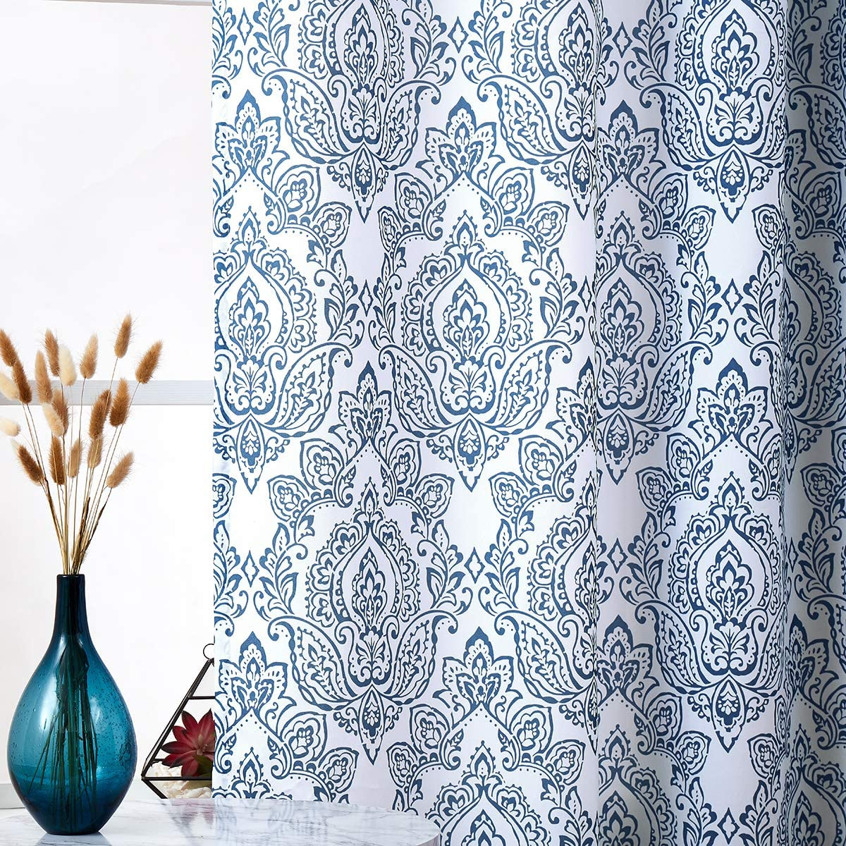 White Blue Curtains For Living Room 72 Inch Long Vintage Damask Printed Window Curtain Panels For Bedroom Grommet Top Floral Pattern Draperies 2 Pcs Walmart Canada