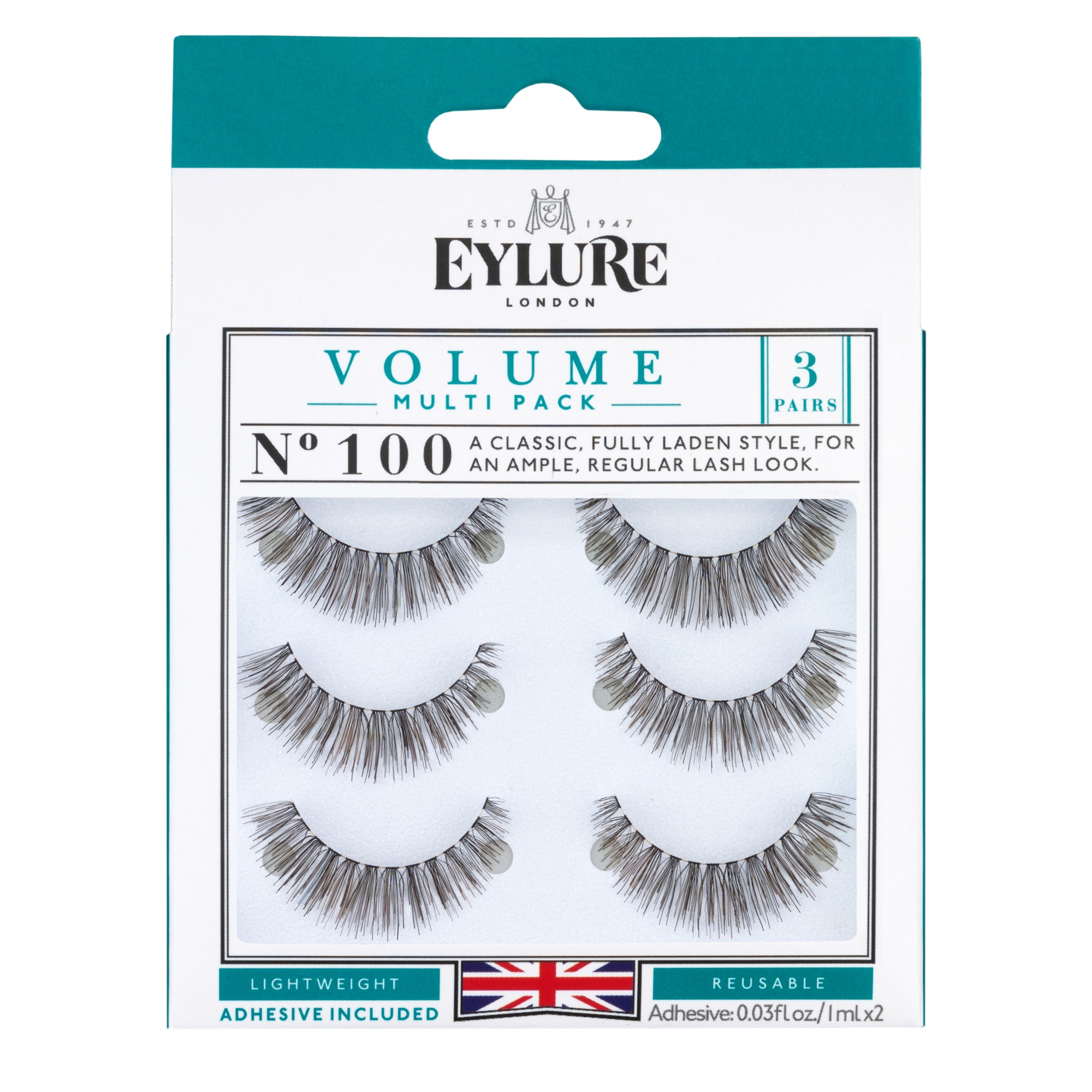Eylure Volume Lashes, 100, Black, 3 Ct