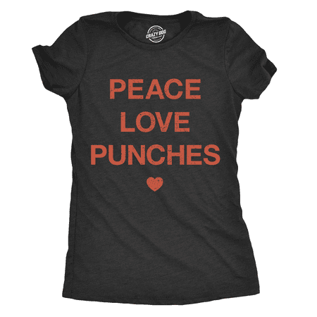 Womens Peace Love Punches Tshirt Funny Cool Boxing Fitness Workout Tee For (Boxing Womens Light T-shirt)