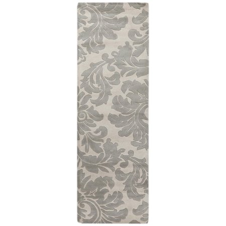 leaves damask gray and white wool area throw rug runner