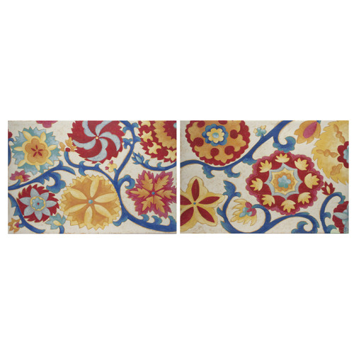 Decor Therapy Contemporary Floral Suzani Splendor Import 2 Piece Painting Print on Canvas Set