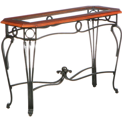 Aberdeen Sofa Table, Dark Cherry, Metal & Glass