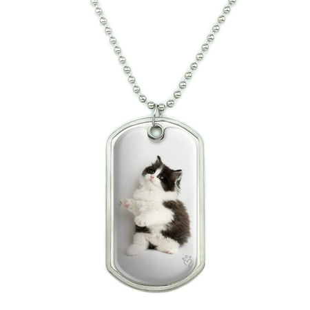 Persian Kitten Cat Black White Military Dog Tag Pendant Necklace with Chain