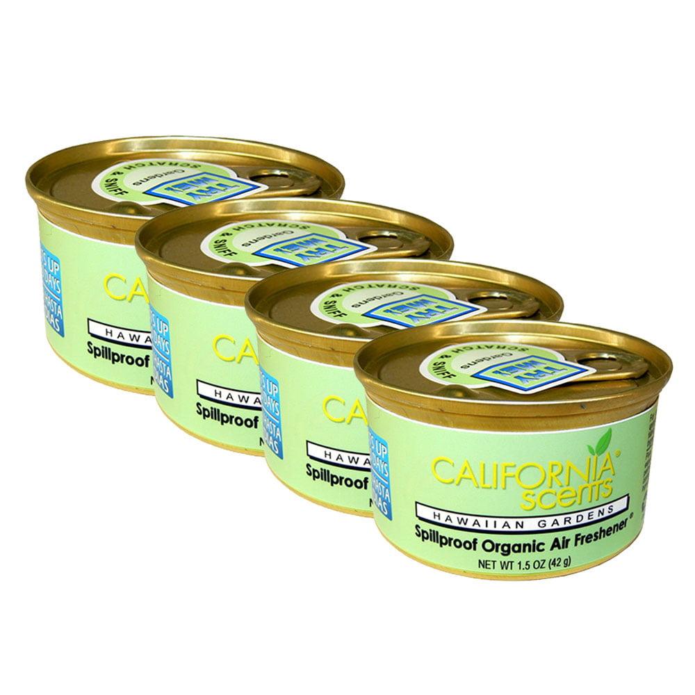 California Scents Spillproof Organic Air Freshener Can, Hawaiian Garden (4-Pack)
