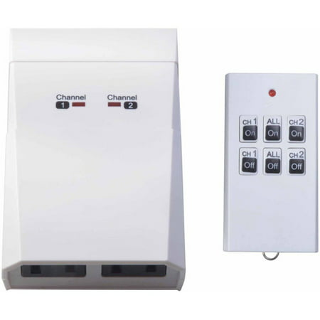 Woods Indoor Wireless Remote Control with 2-Outlets, 59780, White (Wireless Indoor Remote Control)