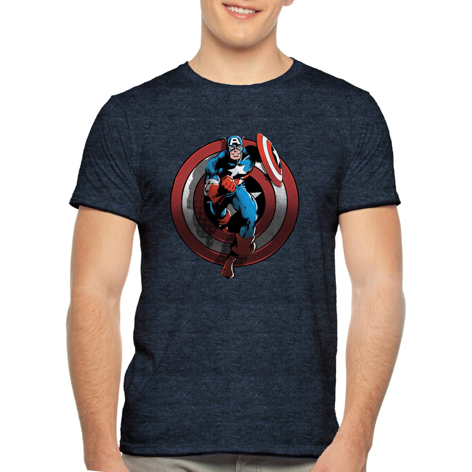 Marvel Captain America on Shield Big Men's Graphic Tee, 2XL
