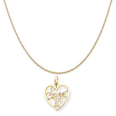 10k Yellow Gold Sweet 16 Charm on a 14K Yellow Gold Rope Chain Necklace, - Sweet Sixteen Jewelry Ideas