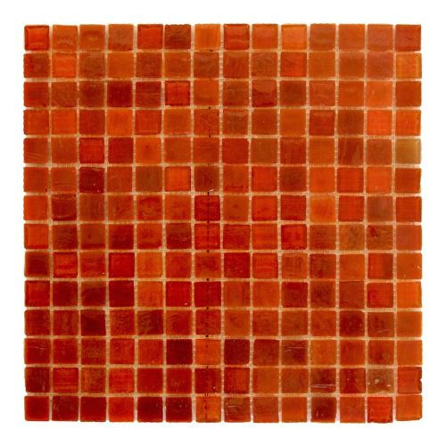 """Abolos- LEED Amber 0.75"""" x 0.75"""" Glass Mosaic Tile in Snappy Red (10sqft / 10pc Box)"""