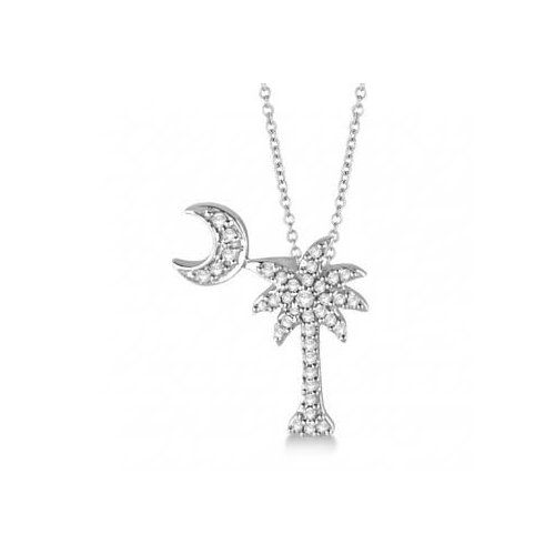 Seven Seas Jewelers Palm Tree & Moon Diamond Pendant Necklace 14k White Gold (0.15ct) by Brand New