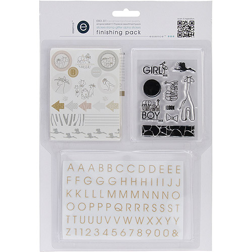 Empire Bebe Finishing Pack, #1 Mini Alpha, Stamp and Glitter Stickers