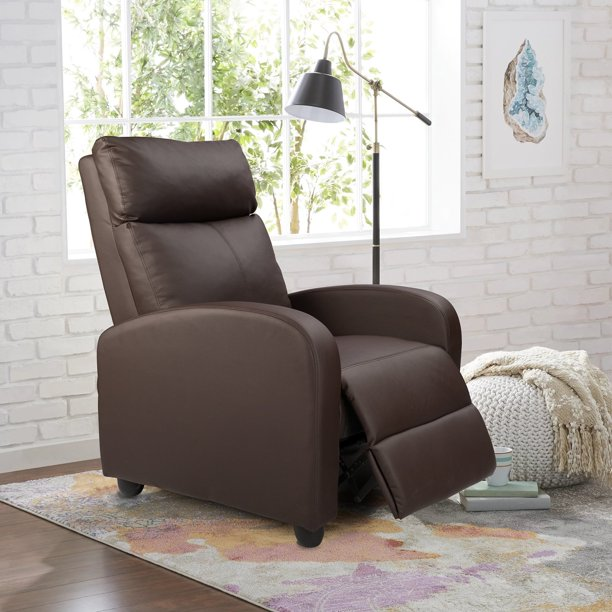 Walnew Home Theater Recliner with Massage, Brown Faux Leather