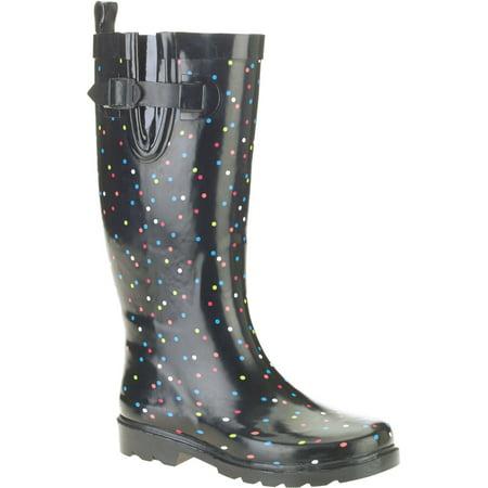 Women's Polka Dot Print Tall Rubber Rain Boots Polka Dot Waterproof Rain Boots