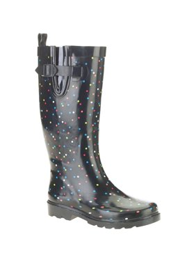Women's Polka Dot Print Tall Rubber Rain Boots