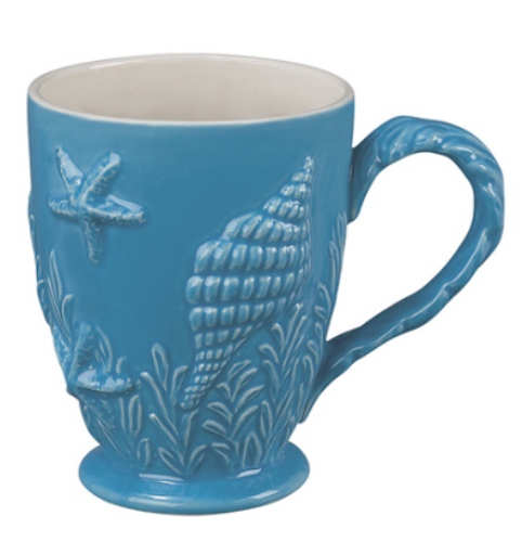 Nautical Ocean Beach Embossed Shell Blue Coffee Latte Mug Andrea by Sadek