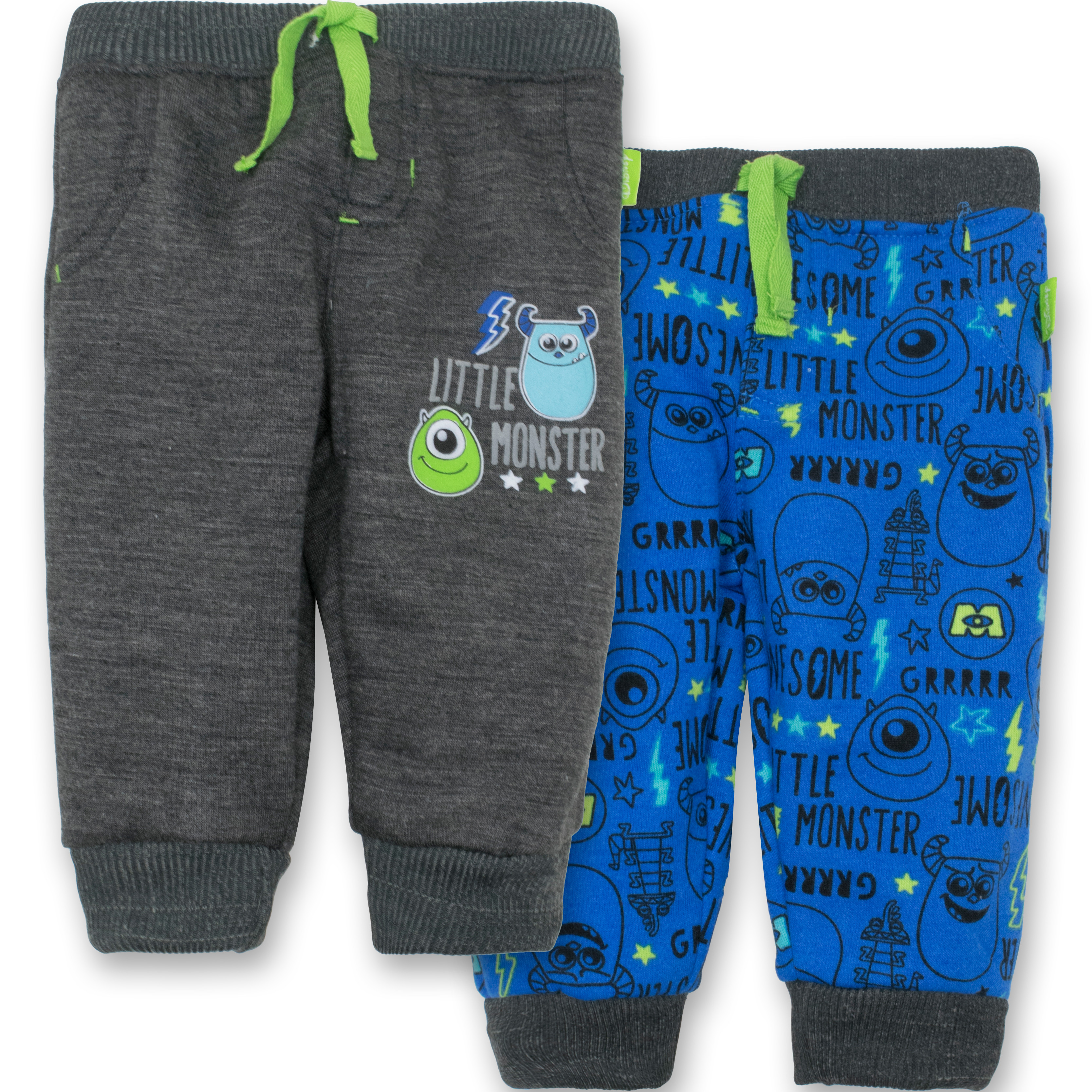 Disney Monsters Inc. Baby Boys' 2 Pack Fleece Drawstring Jogger Pants, Dark Grey and Blue 3-6 Months
