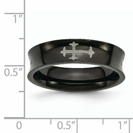 Stainless Steel Concave Crosses Black Plated 6mm Wedding Ring Band Size 8.50 Designed Religious Fashion Jewelry For Women Gifts For Her - image 3 de 11