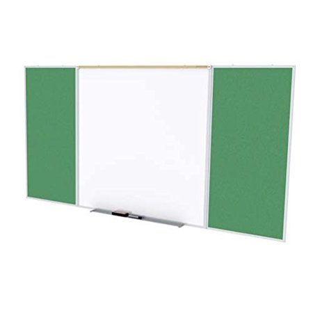 Ghent SPC410D-V-197 4 ft. x 10 ft. Style D Combination Unit - Porcelain Magnetic Whiteboard and Vinyl Fabric Tackboard - Spruce