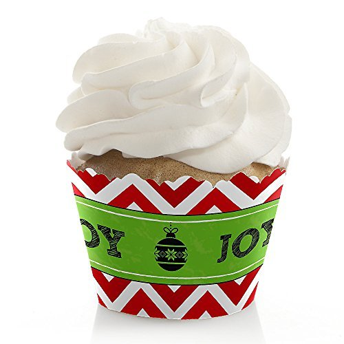 Merry & Bright - Chevron Red and Green - Christmas Party Cupcake Wrappers - Set of 12