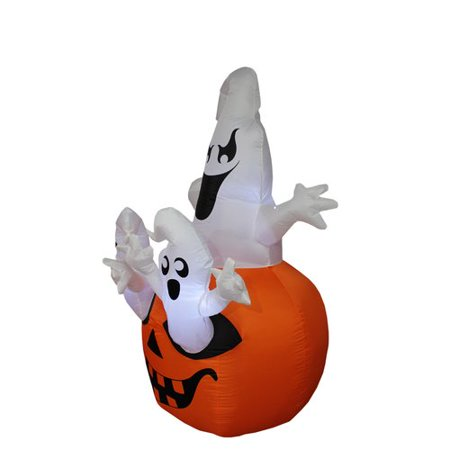 The Holiday Aisle Halloween Inflatable Pumpkin with Ghost