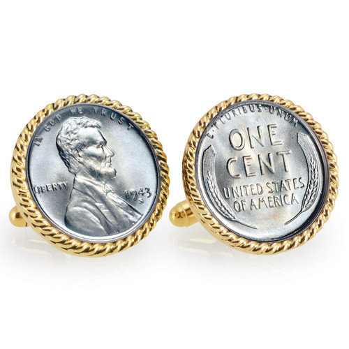 UPM Global LLC 12727 1943 Lincoln Steel Penny Goldtone Rope Bezel Cuff Links