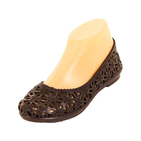 Sandal King Women's Jelly Crochet Brown Ballet Flats 5 B(M)