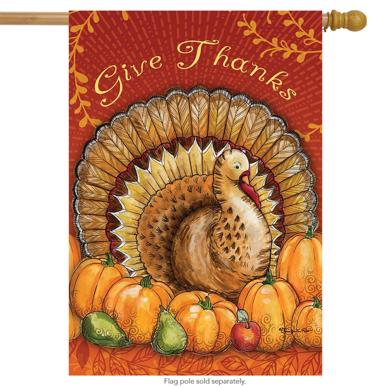 "Give Thanks Thanksgiving House Flag Turkey Pumpkins Apples 28"" x 40"""