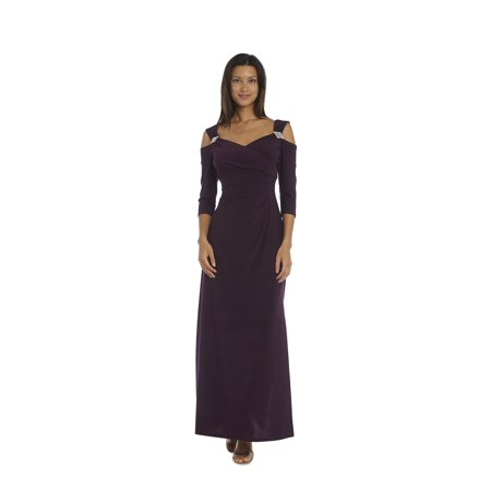 R&M Richards  Plum Cold Shoulder Gown - Sugar Plum Fairy Dress