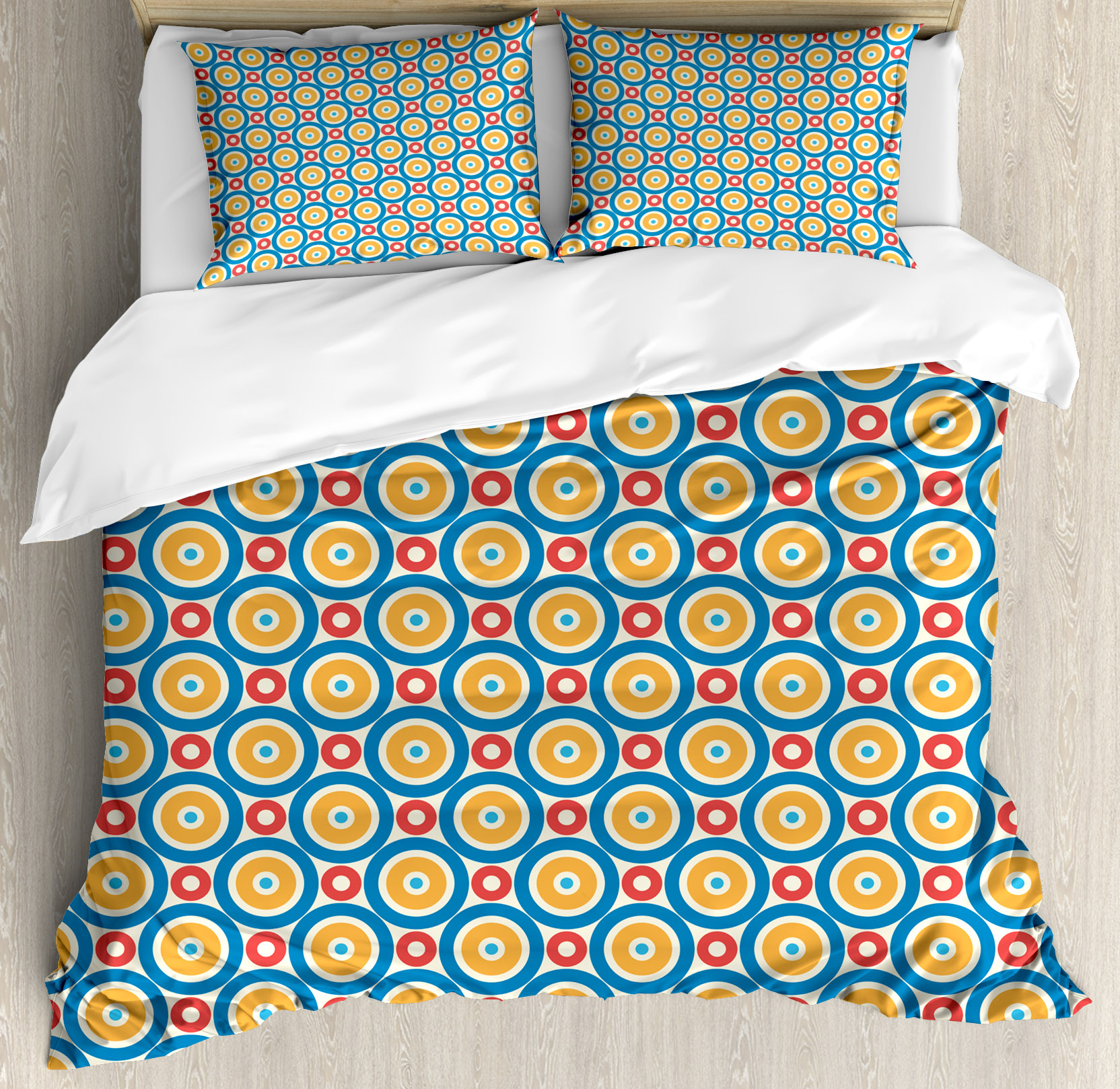 Kids King Size Duvet Cover Set, Big and Small Circles with Dots Vibrant Colored Symmetrical Tile Pattern, Decorative 3 Piece Bedding Set with 2 Pillow Shams, Blue Marigold Scarlet, by Ambesonne